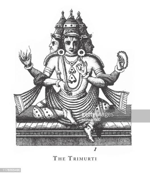 ilustrações de stock, clip art, desenhos animados e ícones de trimurti, hindu and buddhist religious symbols and religious implements engraving antique illustration, published 1851 - linda rama
