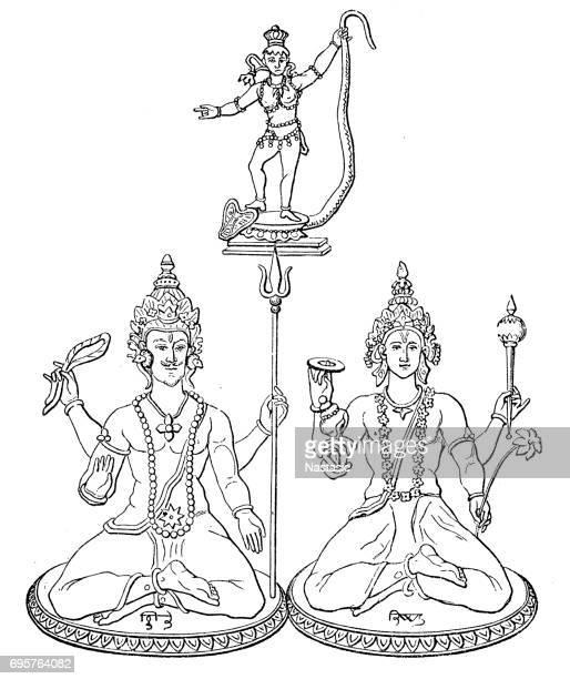 trimurti - siva, vishnu, krishna : hindu gods - hindu god stock illustrations