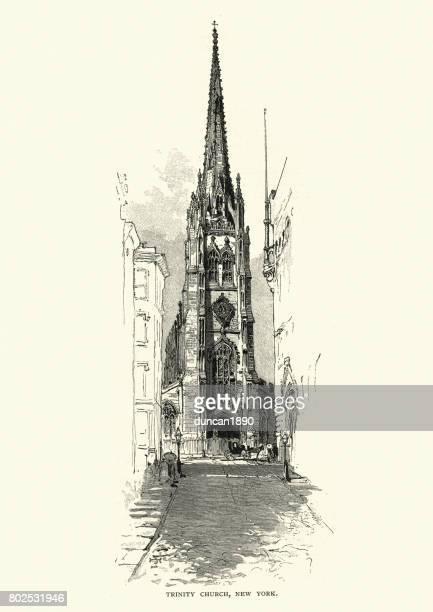 trinity church, new york, 19th century - spire stock illustrations, clip art, cartoons, & icons