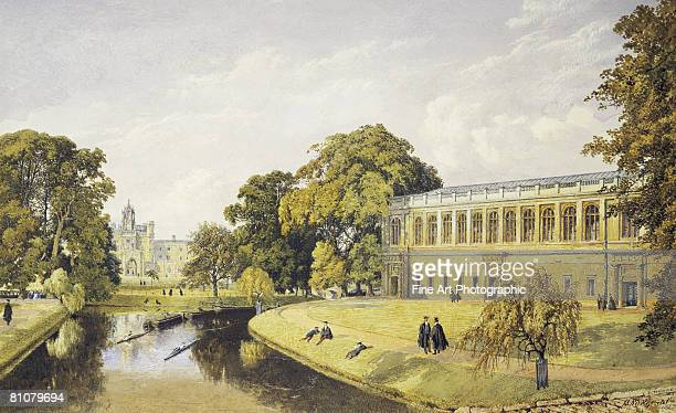 trinity college, cambridge university, england, 1852 - nautical vessel stock illustrations