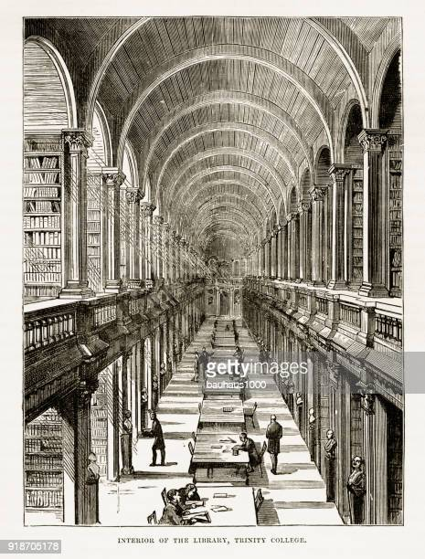 trinity college library in dublin, ireland victorian engraving, circa 1840 - library stock illustrations, clip art, cartoons, & icons