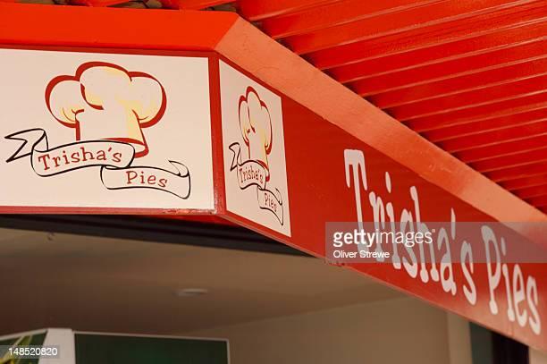 trisha's pies sign, 32 cambridge terrace. - capital letter stock illustrations