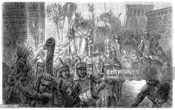 triumphal procession of the pharaoh - north african ethnicity stock illustrations, clip art, cartoons, & icons