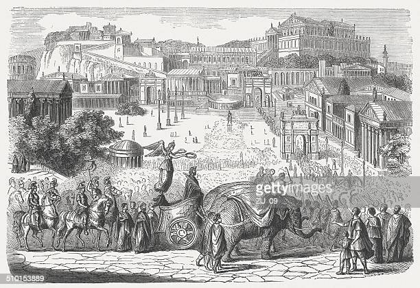 triumphal procession of the roman emperor by the forum romanum - roman forum stock illustrations