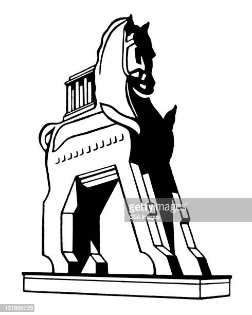 trojan horse - greek culture stock illustrations
