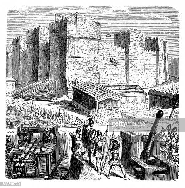 troops of carthage during the siege of agrigent, italy - siege stock illustrations