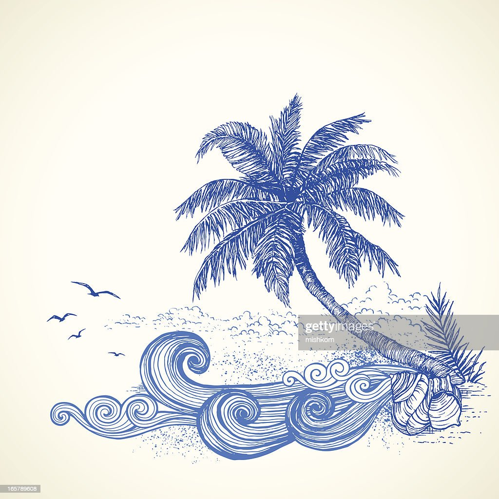 Playa Tropical dibujo : Ilustración de stock