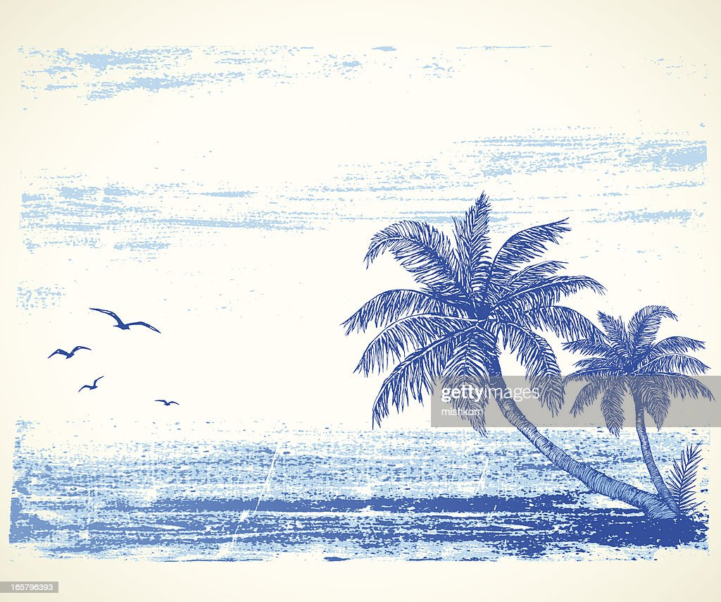 Tropical Beach Drawing : stock illustration