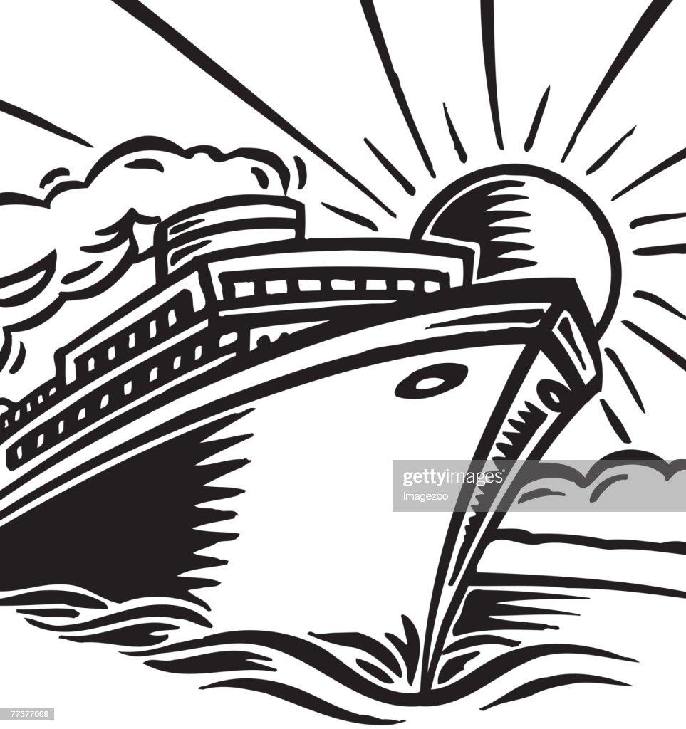 tropical cruise vacation b&w : Illustration