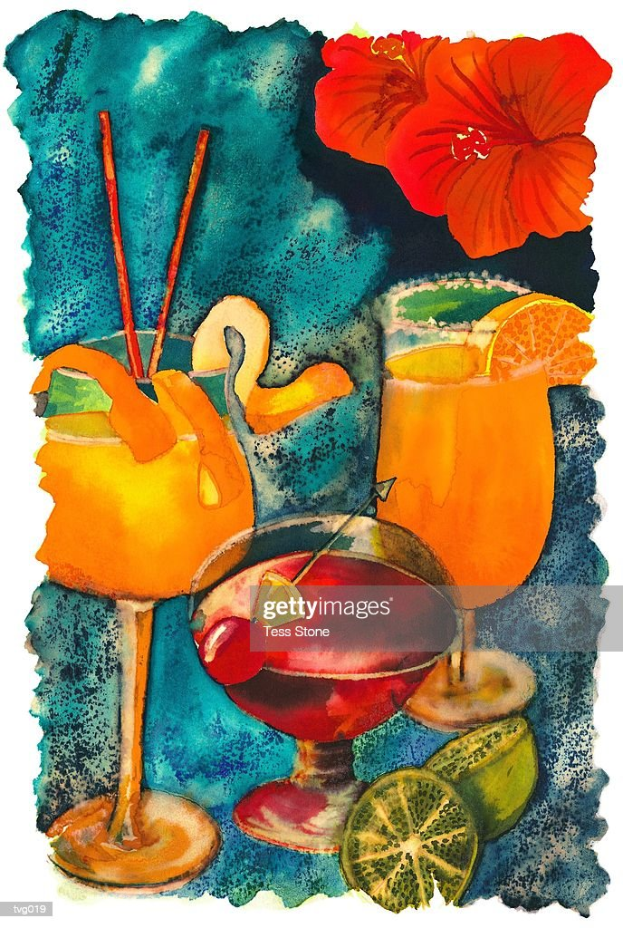 Tropical Drinks : stock illustration