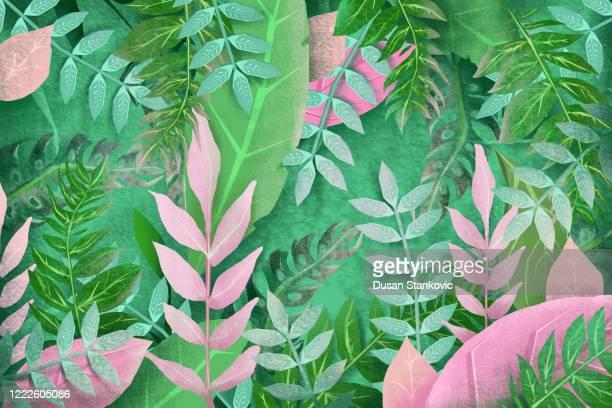 3d tropischen blumen hintergrund - tapete stock-grafiken, -clipart, -cartoons und -symbole