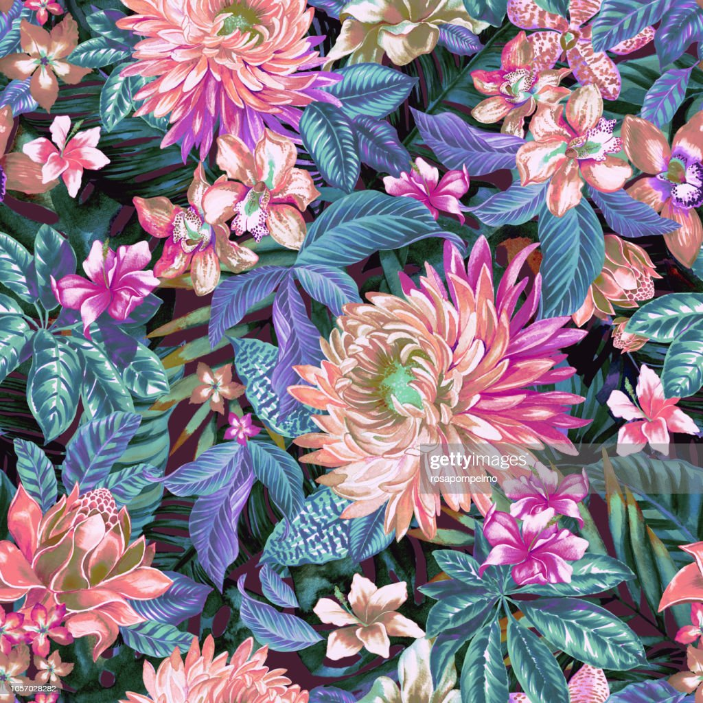 Tropical Floral Pattern On Dark Background High Res Vector Graphic