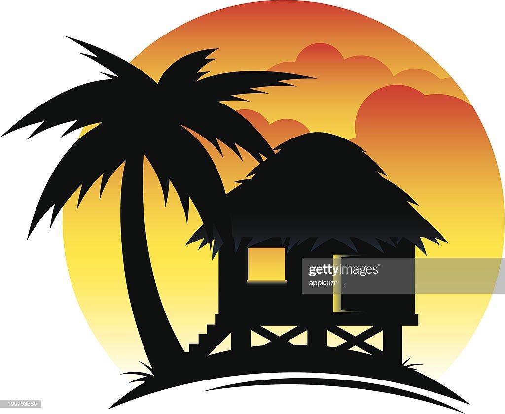 Tropical Hut at Sunset : stock illustration