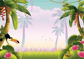 Tropical jungle with macaw