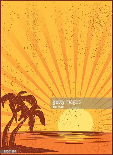tropical postcard - big island hawaii islands stock illustrations