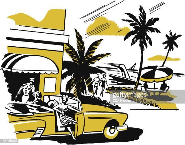 tropical resort - road stock illustrations