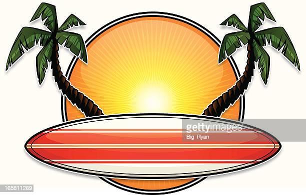 ilustraciones, imágenes clip art, dibujos animados e iconos de stock de diseño tropical tabla de surf - tabla de surf