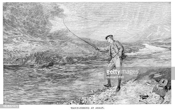 trout fishing at arran - 19th century stock illustrations, clip art, cartoons, & icons