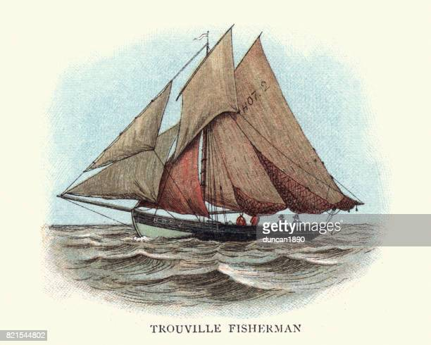 trouville fishing boat, 19th century normandy france - normandy stock illustrations, clip art, cartoons, & icons