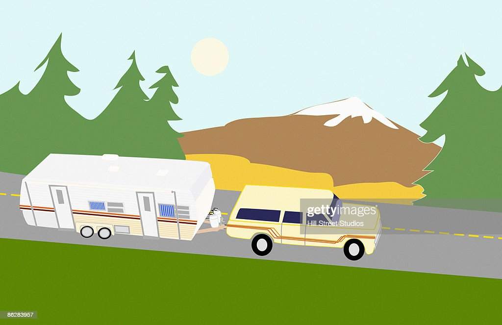 Truck and camper : Stock Illustration