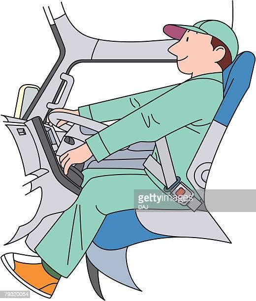 illustrations, cliparts, dessins animés et icônes de truck driver, illustrative technique - chauffeur routier