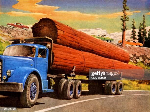 ilustraciones, imágenes clip art, dibujos animados e iconos de stock de camión hauling registros - camionero