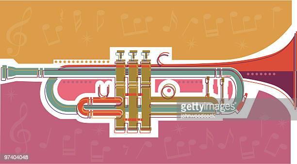 trumpet - jazz stock illustrations, clip art, cartoons, & icons