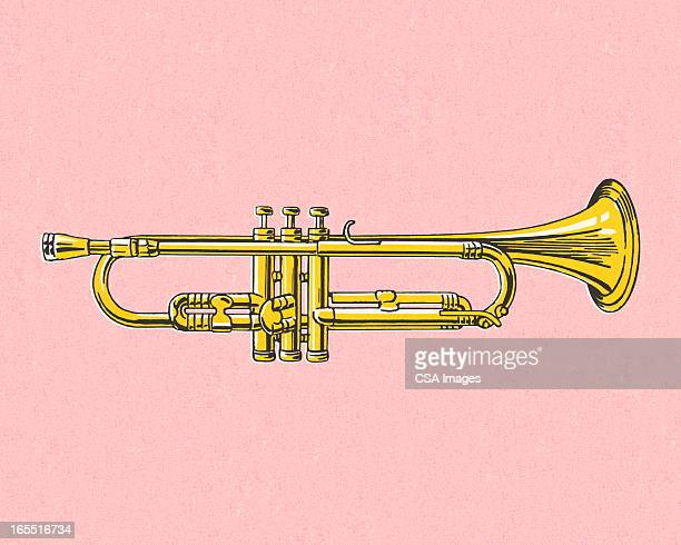 trumpet on pink background - trumpet stock illustrations, clip art, cartoons, & icons