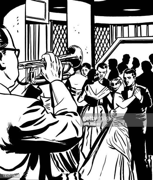 ilustraciones, imágenes clip art, dibujos animados e iconos de stock de trompeta jugador y el baile - pareja bailando cuerpo entero