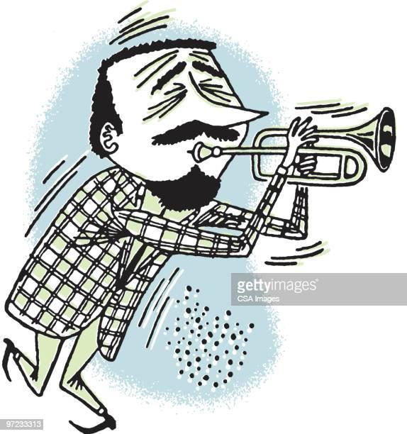 trumpeter - beat generation stock illustrations
