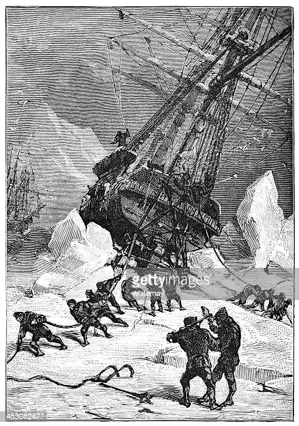 Trying to free a whaling ship from ice
