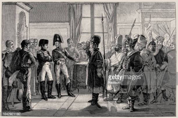Tsar Alexander I Presenting Russian Troops to Napoleon, 8th July 1807 (1882-188)