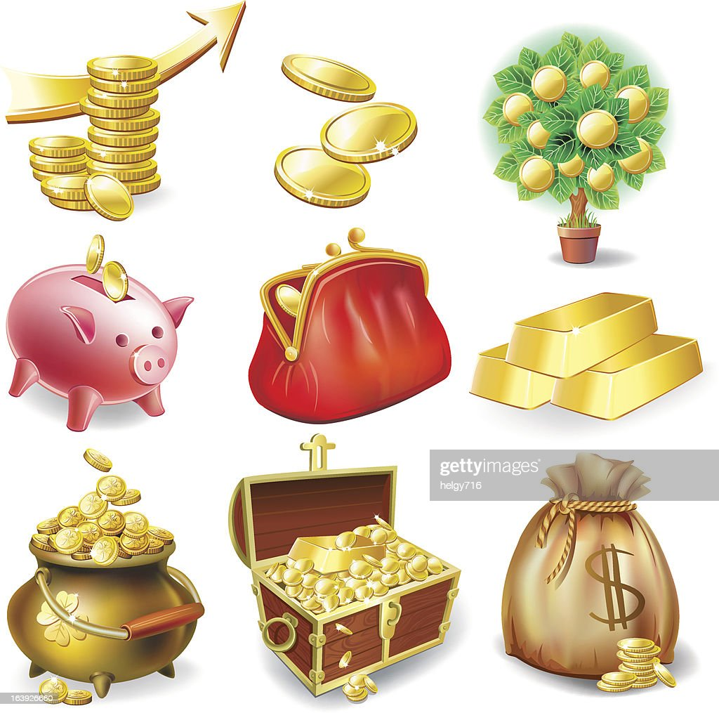 TSet of icons on the financial theme