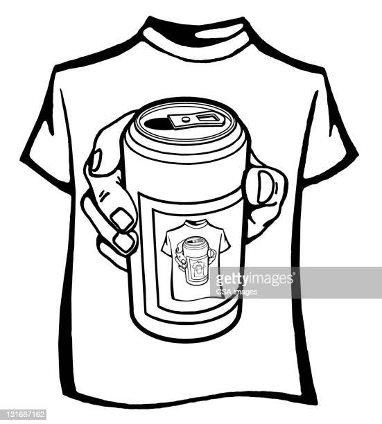 t-shirt of beer can - image stock illustrations
