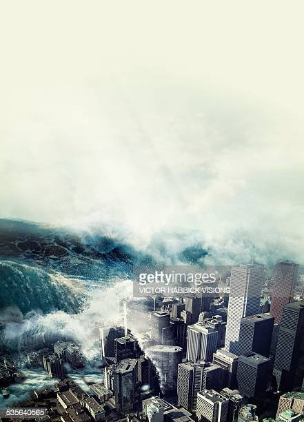tsunami hitting a city, artwork - victor habbick stock illustrations