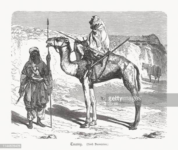 tuareg people, large berber ethnic confederation, wood engraving, published 1897 - tuareg tribe stock illustrations