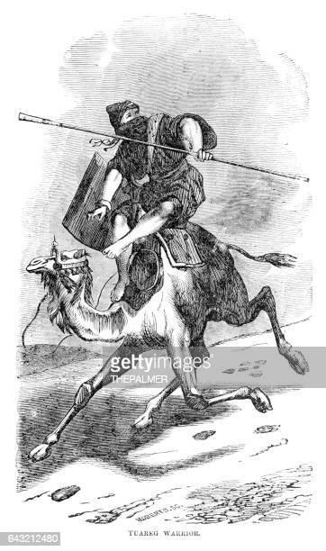 ilustrações de stock, clip art, desenhos animados e ícones de tuareng warrior engraving 1898 - tuaregue