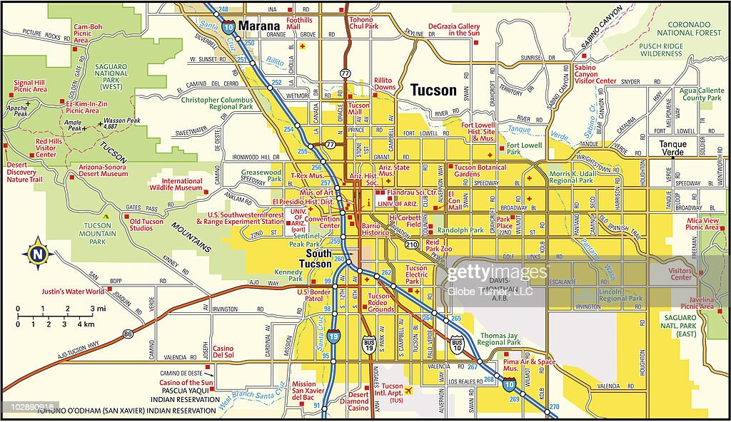 Tucson Arizona Area Map Vector Art | Getty Images
