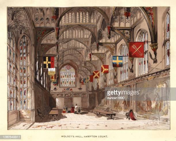 illustrations, cliparts, dessins animés et icônes de tudor great hall of hampton court palace, architecture du xvie siècle - surrey angleterre