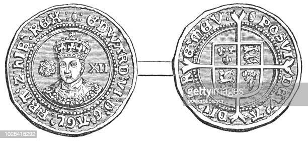 Tudor Rose Edward VI Shilling Coin (1547-1553)