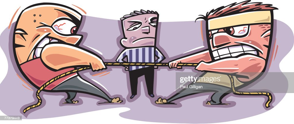 A tug of war between two men : Stock Illustration