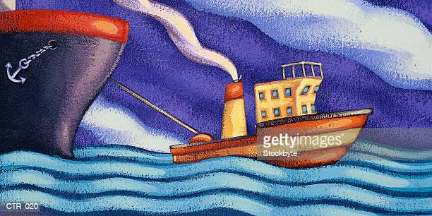 Tugboat pulling ship