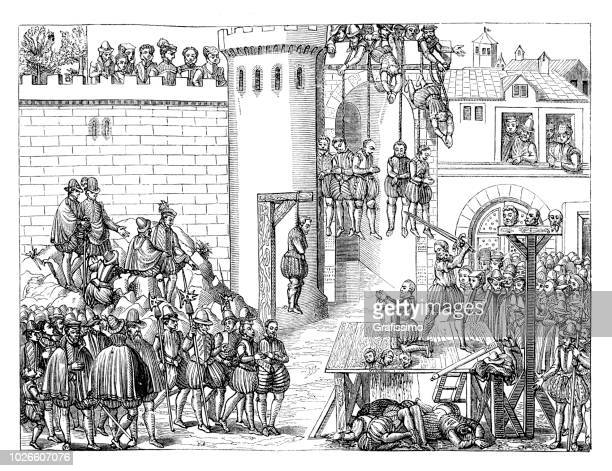 tumult of amboise conspiracy execution of rebells 1560 france - conspiracy stock illustrations, clip art, cartoons, & icons