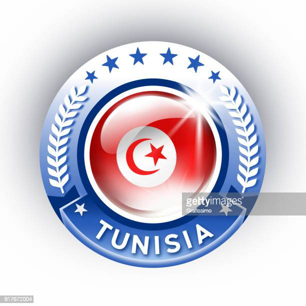 tunisia button with tunisian flag isolated on white - tunisia stock illustrations, clip art, cartoons, & icons