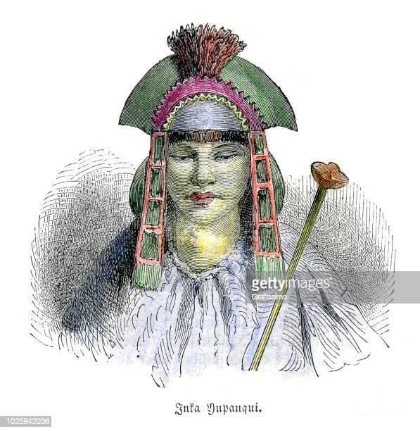 illustrazioni stock, clip art, cartoni animati e icone di tendenza di tupac inca yupanqui capo leader xv secolo - principe persona nobile