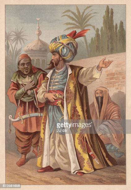 turban wearer from the ottoman empire, lithograph, published in 1890 - ottoman empire stock illustrations