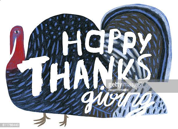 turkey and happy thanks giving message - thanksgiving holiday stock illustrations, clip art, cartoons, & icons