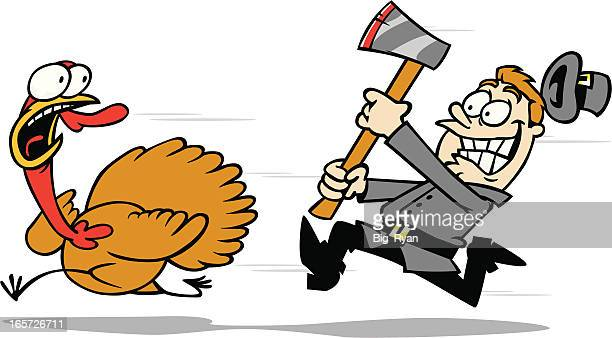 turkey chase - pilgrim stock illustrations, clip art, cartoons, & icons