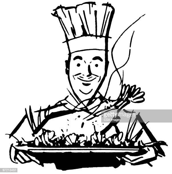 turkey - chef stock illustrations