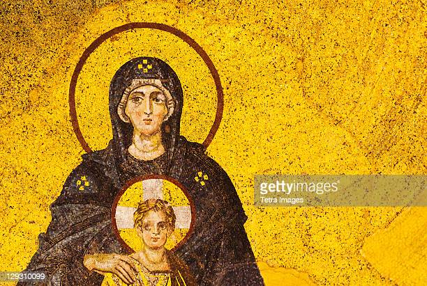 Turkey, Istanbul, Mosaic of Virgin Mary and Jesus in Haghia Sophia Mosque